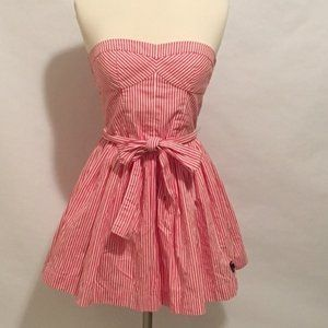 A&F Red Striped Strapless Dress